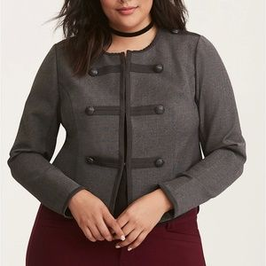 Torrid Grey Fitted Military Jacket 3 22/24